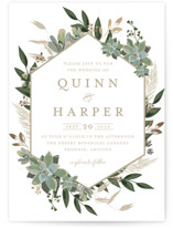 This is a white foil stamped wedding invitation by Susan Moyal called Succulent Surround with foil-pressed printing on signature in standard.