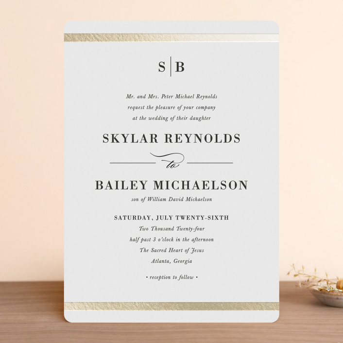 """""""Classic Monogram"""" - Foil-pressed Wedding Invitations in Snow by Stacey Meacham."""