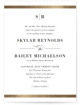 This is a black and white foil stamped wedding invitation by Stacey Meacham called Classic Monogram with foil-pressed printing on signature in standard.
