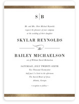 This is a white foil stamped wedding invitation by Stacey Meacham called Classic Monogram with foil-pressed printing on signature in standard.
