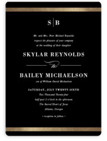 This is a black foil stamped wedding invitation by Stacey Meacham called Classic Monogram with foil-pressed printing on signature in standard.