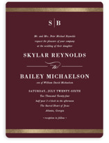 This is a red foil stamped wedding invitation by Stacey Meacham called Classic Monogram with foil-pressed printing on signature in standard.