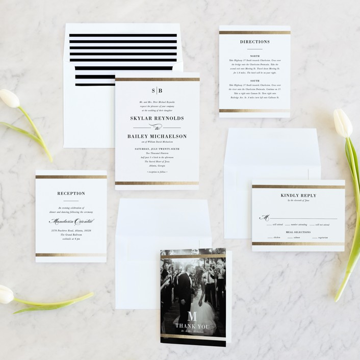 Classic Monogram Foil-Pressed Wedding Invitations by Stacey Meacham ...