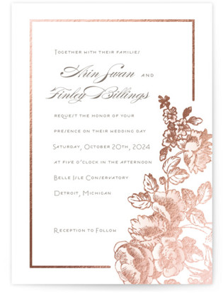 Gilded Garden Foil-Pressed Wedding Invitations