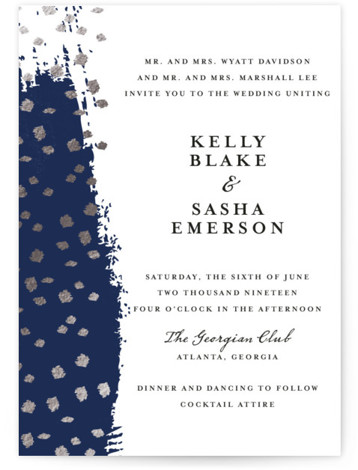 This is a portrait hand drawn, blue, silver Wedding Invitations by Red Door Design called Modern Dot with Foil Pressed printing on Signature in Classic Flat Card format. This wedding invitation has gold foil flecks on top of a sky ...