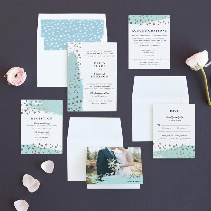 Modern Dot Foil-Pressed Wedding Invitations by Red Door Design | Minted