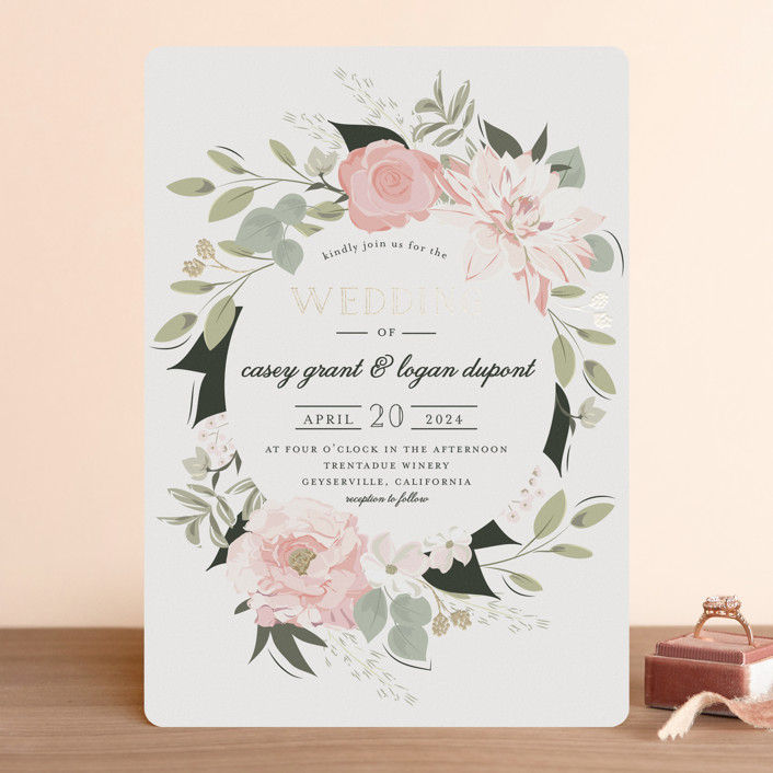 """Petal Surround"" - Rustic, Bohemian Foil-pressed Wedding Invitations in Blush by Susan Moyal."
