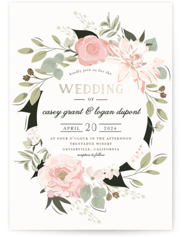 This is a portrait bohemian, botanical, rustic, pink, green, gold Wedding Invitations by Susan Moyal called Petal Surround with Foil Pressed printing on Signature in Classic Flat Card format. This wedding invitation features a frame of flowers, leaves and gilded ...