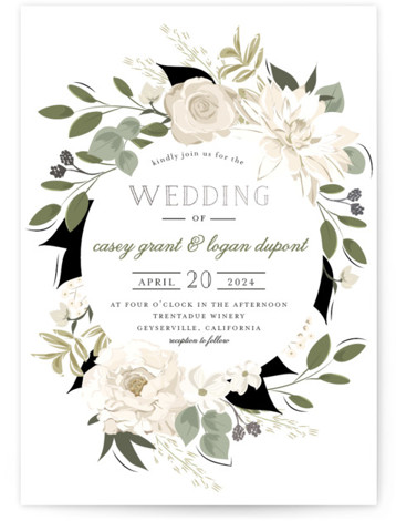 This is a portrait bohemian, botanical, rustic, white, green, silver Wedding Invitations by Susan Moyal called Petal Surround with Foil Pressed printing on Signature in Classic Flat Card format. This wedding invitation features a frame of flowers, leaves and gilded ...