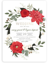 This is a red foil stamped wedding invitation by Susan Moyal called Petal Surround with foil-pressed printing on signature in standard.