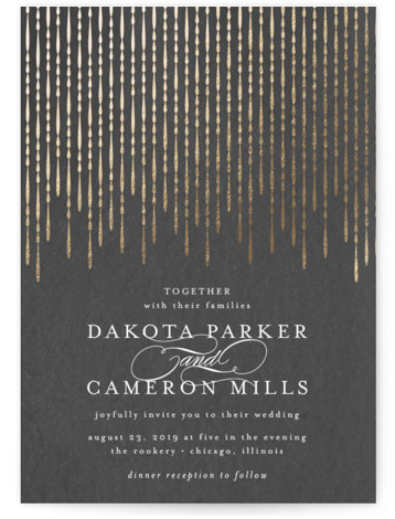 This is a portrait traditional, vintage, grey, gold Wedding Invitations by Lehan Veenker called Chandy with Foil Pressed printing on Signature in Classic Flat Card format. Inspired by the shimmer and sparkle of grand chandeliers, this wedding invitation features dripping ...