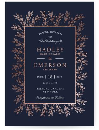 Gilded Evergreen Foil-Pressed Wedding Invitations