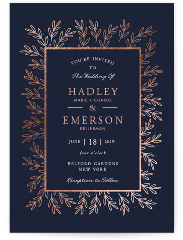 This is a portrait floral, rustic, traditional, blue, rosegold Wedding Invitations by Oma N. Ramkhelawan called gilded evergreen with Foil Pressed printing on Signature in Classic Flat Card format. This design features delicate evergreen branches and set the tone for ...
