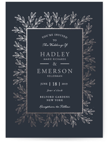 This is a portrait floral, rustic, traditional, black, silver Wedding Invitations by Oma N. Ramkhelawan called gilded evergreen with Foil Pressed printing on Signature in Classic Flat Card format. This design features delicate evergreen branches and set the tone for ...