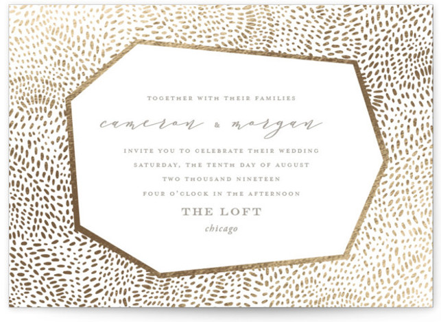 This is a yellow foil stamped wedding invitation by Oscar & Emma called Lovely Beginning with foil-pressed printing on signature in standard.