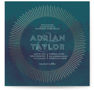 Sunburst Foil-Pressed Wedding Invitations