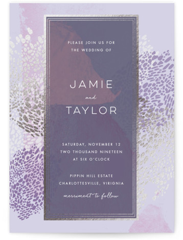 This is a portrait beach, traditional, purple, silver Wedding Invitations by Makewells called Deep Ocean Currents with Foil Pressed printing on Signature in Classic Flat Card format. This foil pressed wedding invitation features organic markings on a deep sea inspired ...