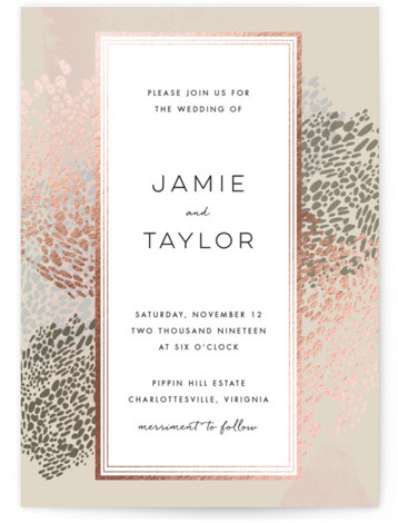This is a portrait beach, traditional, beige, rosegold Wedding Invitations by Makewells called Deep Ocean Currents with Foil Pressed printing on Signature in Classic Flat Card format. This foil pressed wedding invitation features organic markings on a deep sea inspired ...