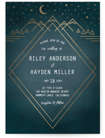 This is a portrait hand drawn, rustic, green Wedding Invitations by Summer Winkelman called Mountain Sky with Foil Pressed printing on Signature in Classic Flat Card format. A wedding invitation for the nature enthusiast. A geometric landscape with a glimmering ...
