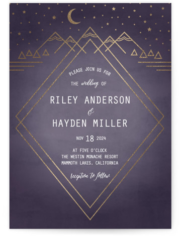 This is a portrait hand drawn, rustic, purple Wedding Invitations by Summer Winkelman called Mountain Sky with Foil Pressed printing on Signature in Classic Flat Card format. A wedding invitation for the nature enthusiast. A geometric landscape with a glimmering ...