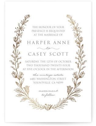Gilded Laurels Foil-Pressed Wedding Invitations