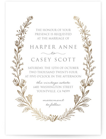 This is a portrait botanical, traditional, gold, grey Wedding Invitations by Smudge Design called Gilded Laurels with Foil Pressed printing on Signature in Classic Flat Card format. Sketched wildflowers adorn this elegant design which is perfect for a garden or ...