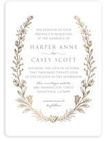 This is a gold foil stamped wedding invitation by Smudge Design called Gilded Laurels with foil-pressed printing on signature in standard.