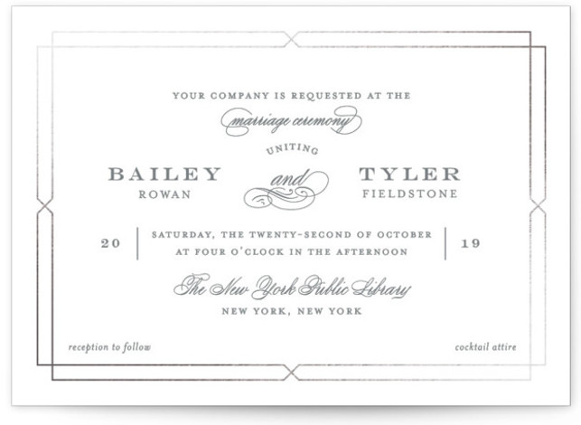 This is a landscape traditional, grey, silver Wedding Invitations by Kimberly FitzSimons called Structured Glamour with Foil Pressed printing on Signature in Classic Flat Card format. A classic. Elegant and timeless wedding invitation with a striking border and eye catching ...