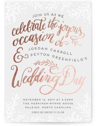 Botanical Lettering Foil-Pressed Wedding Invitations