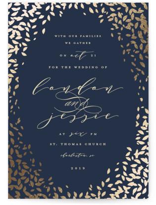 Cascading Corners Foil-Pressed Wedding Invitations