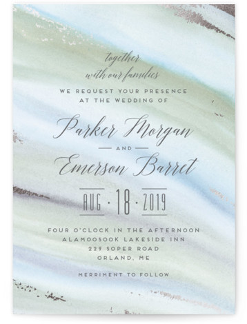 This is a portrait beach, bohemian, rustic, green, silver Wedding Invitations by Petra Kern called Beautiful Earth with Foil Pressed printing on Signature in Classic Flat Card format. Wedding invitation perfect for nature inspired weddings