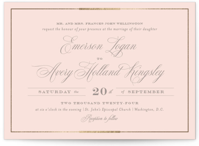 This is a landscape traditional, pink, gold, rosegold Wedding Invitations by Little Words Design called Cambridge with Foil Pressed printing on Signature in Classic Flat Card format. A traditional black and ivory design incorporating elegant scripts and bold formal lettering ...
