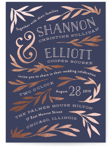 This is a portrait floral, rustic, blue, rosegold Wedding Invitations by Laura Hankins called Wonderland with Foil Pressed printing on Signature in Classic Flat Card format. A whimsical hand drawn scattering of vines.