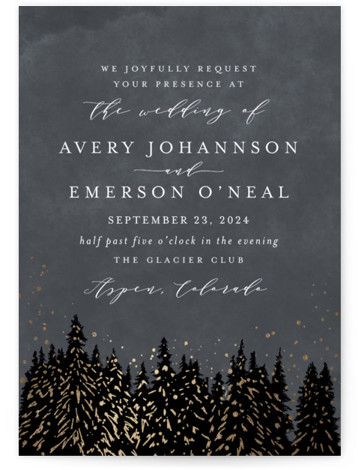 This is a portrait bohemian, hand drawn, rustic, grey, gold Wedding Invitations by Kristie Kern called Aspen with Foil Pressed printing on Signature in Classic Flat Card format. Snowy, foil flecked pines glisten in this location inspired invitation