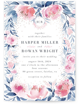 Monogrammed watercolor floral Foil-Pressed Wedding Invitations