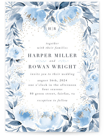 This is a portrait botanical, traditional, blue, ivory, gold Wedding Invitations by Qing Ji called Monogrammed watercolor floral with Foil Pressed printing on Signature in Classic Flat Card format. Elegant wedding invitation featuring hand painted watercolor floral, with the monogram ...