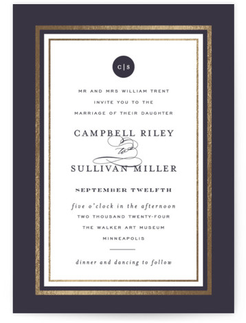 This is a portrait traditional, blue, gold Wedding Invitations by Susan Brown called Prelude with Foil Pressed printing on Signature in Classic Flat Card format. Traditional elements over deep watercolors and texture. Gold border.
