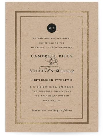 This is a portrait traditional, kraft, gold Wedding Invitations by Susan Brown called Prelude with Foil Pressed printing on Signature in Classic Flat Card format. Traditional elements over deep watercolors and texture. Gold border.