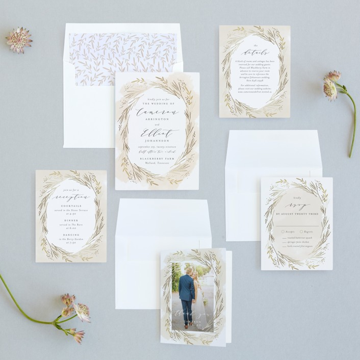 Wheat Field Foil-Pressed Wedding Invitations by Kristie Kern | Minted