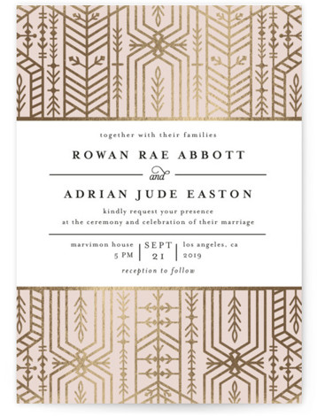 This is a portrait vintage, pink, gold Wedding Invitations by Melanie Kosuge called ALEXA with Foil Pressed printing on Signature in Classic Flat Card format. A modern wedding invite featuring elegant, hand drawn illustration work and pattern design.
