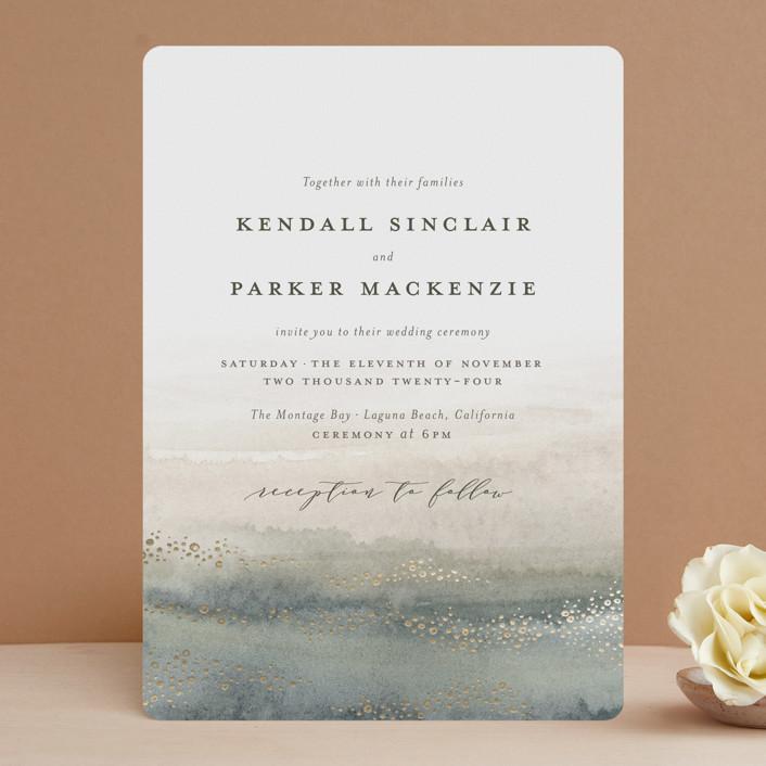 """OCEANS"" - Bohemian Foil-pressed Wedding Invitations in Ocean by Annie Mertlich."