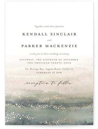 Oceans Foil-Pressed Wedding Invitations