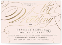This is a classic colors foil stamped wedding invitation by Carrie ONeal called Filigree with foil-pressed printing on signature in standard.