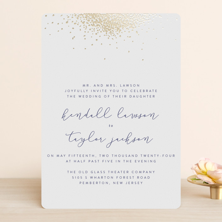 """Confetti"" - Traditional Foil-pressed Wedding Invitations in Gold by Julia Hall."