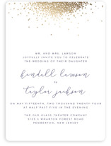 This is a blue foil stamped wedding invitation by Julia Hall called Confetti with foil-pressed printing on signature in standard.