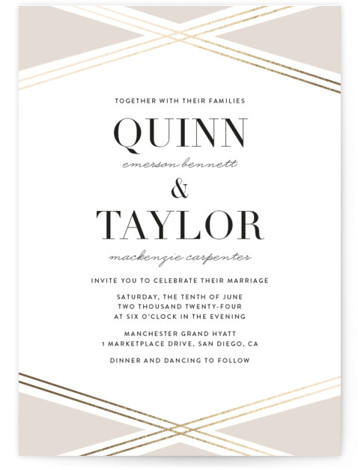 This is a portrait modern, beige, gold Wedding Invitations by Erica Krystek called Modern Ribbon with Foil Pressed printing on Signature in Classic Flat Card format. This elegant design features charming gold lines paired with a neutral palette and clean ...