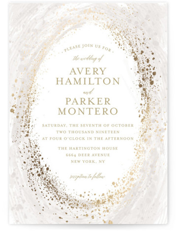 This is a portrait beach, bohemian, grey, gold Wedding Invitations by heythird called Sprinkled Brush with Foil Pressed printing on Signature in Classic Flat Card format. This Wedding Invitation Card features a brush strokes background with sprinkled foil design.