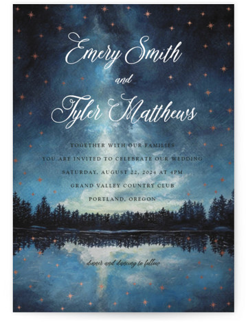 This is a portrait hand drawn, rustic, blue, rosegold Wedding Invitations by Elly called Stellar with Foil Pressed printing on Signature in Classic Flat Card format. A landscape painting in watercolour with gold foil stars that shine around your wedding ...