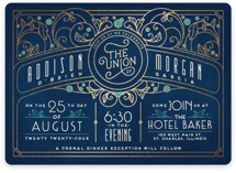 This is a blue foil stamped wedding invitation by GeekInk Design called Ornate Deco with foil-pressed printing on signature in standard.