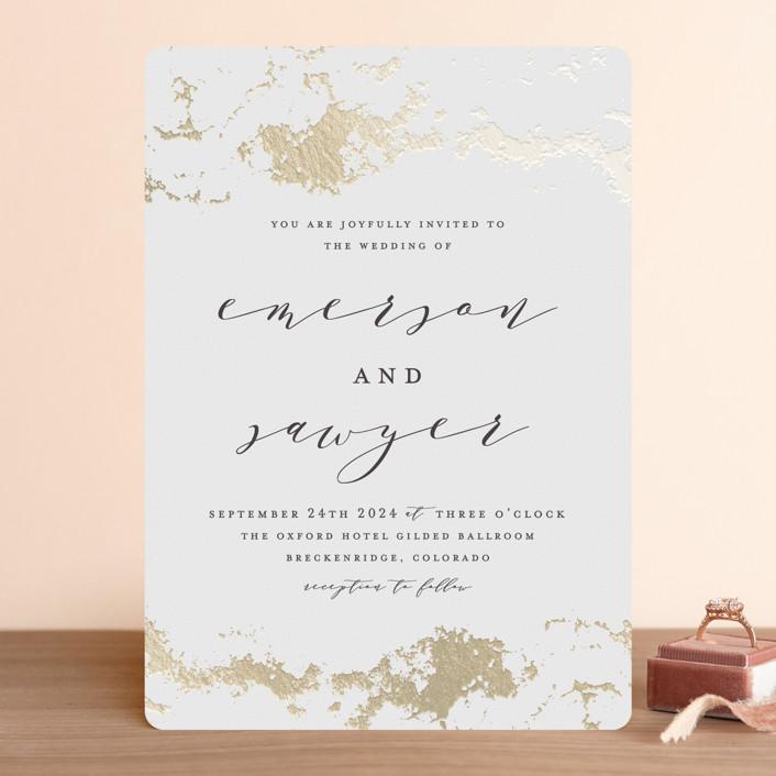"""""""Aerial"""" - Foil-pressed Wedding Invitations in Snow by Grace Kreinbrink."""